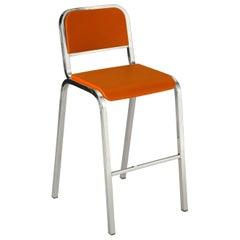 Emeco Nine-0 Barstool in Polished Aluminum and Orange by Ettore Sottsass