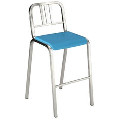 Emeco Nine-0 Barstool in Polished Aluminum with Blue Seat by Ettore Sottsass