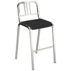 Emeco Nine-0 Barstool in Polished Aluminum with Gray Seat by Ettore Sottsass