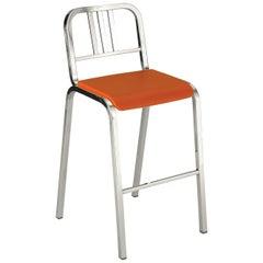 Emeco Nine-0 Barstool in Polished Aluminum with Orange Seat by Ettore Sottsass