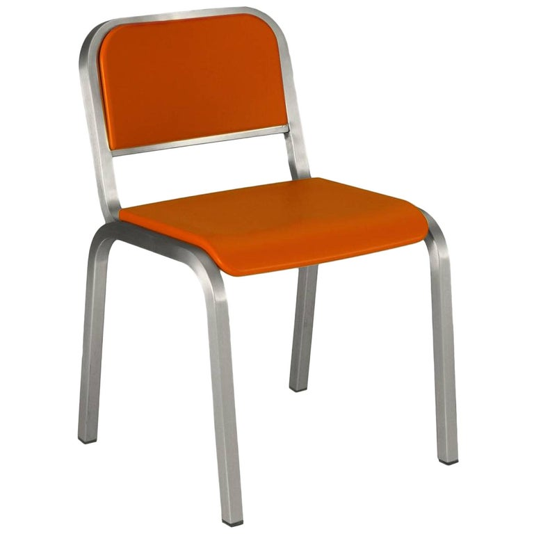 Emeco Nine-0 Chair in Brushed Aluminium and Orange by Ettore Sottsass For Sale