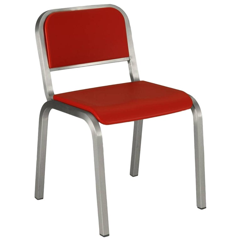 Emeco Nine-0 Chair in Brushed Aluminum and Red by Ettore Sottsass For Sale