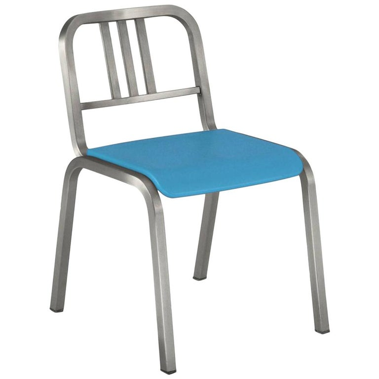 Emeco Nine-0 Chair in Brushed Aluminum W/ Blue Seat by Ettore Sottsass For Sale