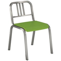 Emeco Nine-0 Chair in Brushed Aluminum with Green Seat by Ettore Sottsass
