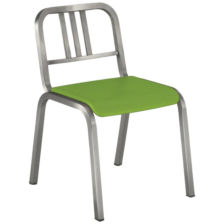 Emeco Nine-0 Chair in Brushed Aluminum with Green Seat by Ettore Sottsass For Sale