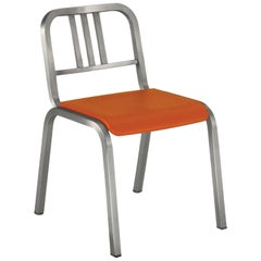 Emeco Nine-0 Chair in Brushed Aluminum with Orange Seat by Ettore Sottsass