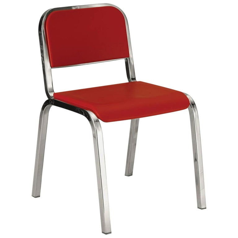 Emeco Nine-0 Chair in Polished Aluminium and Red by Ettore Sottsass For Sale
