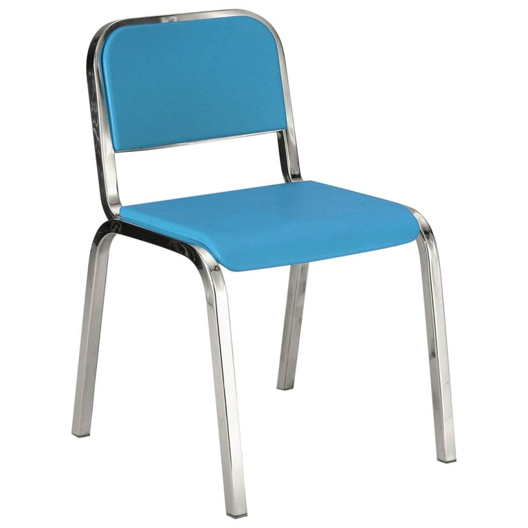 Emeco Nine-0 Chair in Polished Aluminum and Blue by Ettore Sottsass For Sale