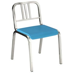 Emeco Nine-0 Chair in Polished Aluminum with Blue Seat by Ettore Sottsass