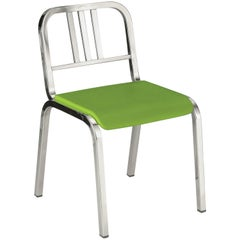 Emeco Nine-0 Chair in Polished Aluminum with Green Seat by Ettore Sottsass