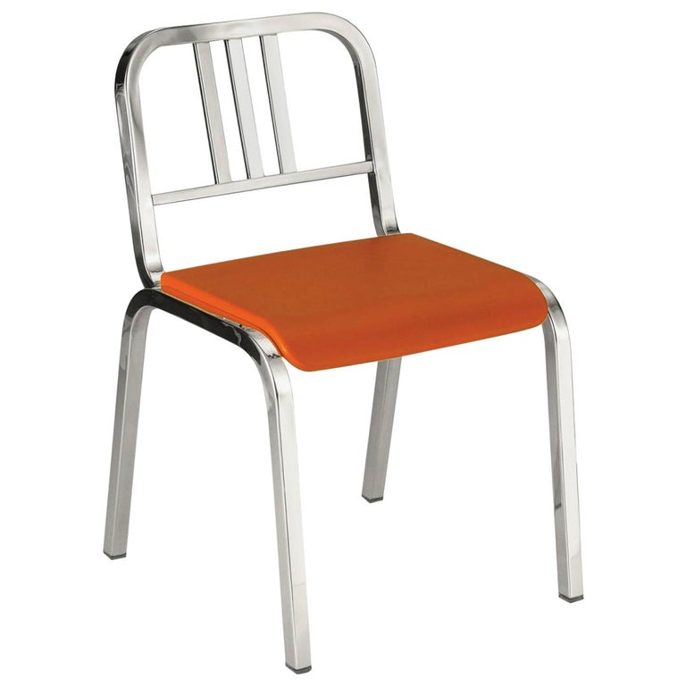 Emeco Nine-0 Chair in Polished Aluminum with Orange Seat by Ettore Sottsass For Sale