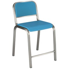 Emeco Nine-0 Counter Stool in Brushed Aluminium and Blue by Ettore Sottsass