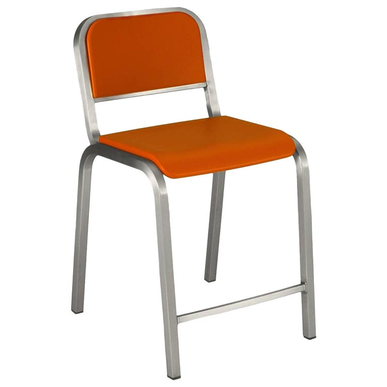 Emeco Nine-0 Counter Stool in Brushed Aluminium and Orange by Ettore Sottsass For Sale