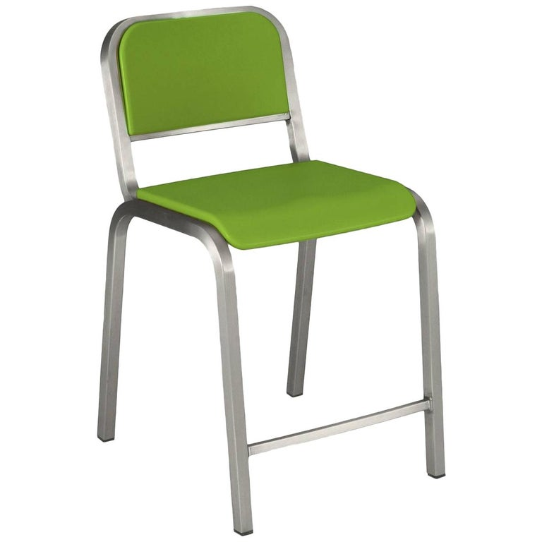 Emeco Nine-0 Counter Stool in Brushed Aluminum and Green by Ettore Sottsass For Sale