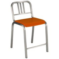 Emeco Nine-0 Counter Stool in Brushed Aluminum and Orange by Ettore Sottsass