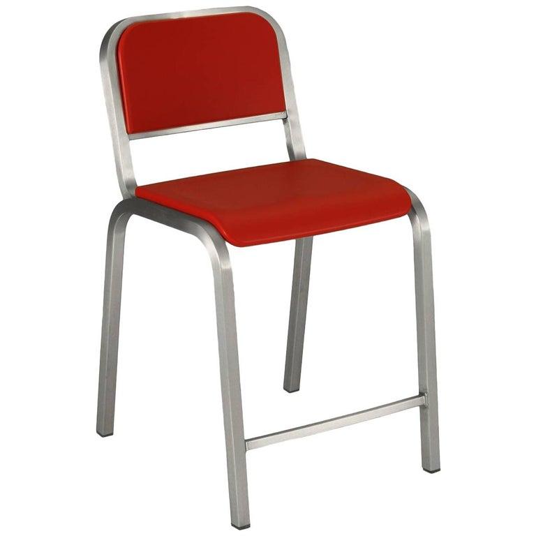 Emeco Nine-0 Counter Stool in Brushed Aluminum and Red by Ettore Sottsass For Sale