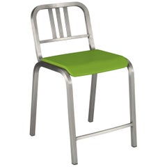 Emeco Nine-0 Counter Stool in Brushed Aluminum with Green Seat, Ettore Sottsass