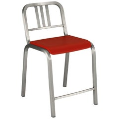 Emeco Nine-0 Counter Stool in Brushed Aluminum with Red Seat by Ettore Sottsass