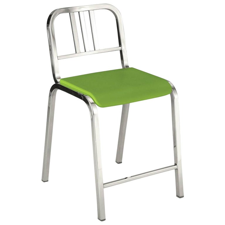 Emeco Nine-0 Counter Stool in Polished Aluminum and Green by Ettore Sottsass For Sale