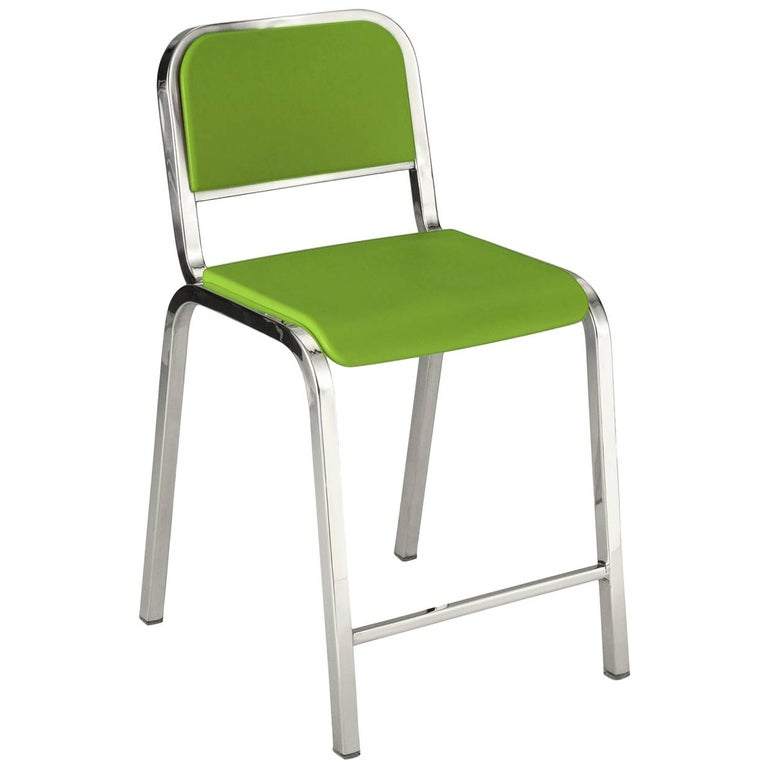 Emeco Nine-0 Counter Stool in Polished Aluminum and Green by Ettore Sottsass