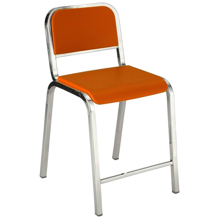 Emeco Nine-0 Counter Stool in Polished Aluminum and Orange by Ettore Sottsass For Sale