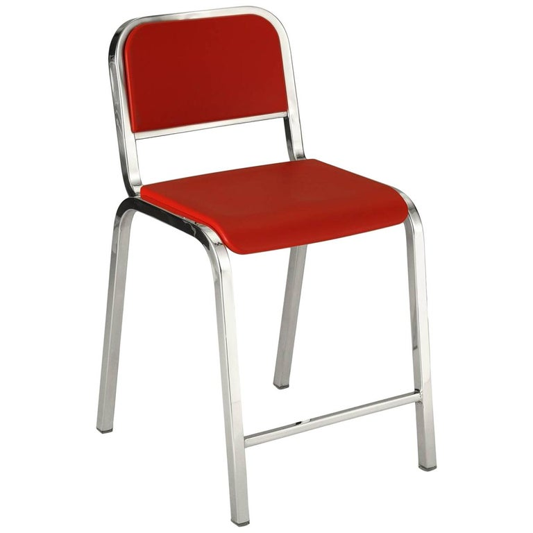Emeco Nine-0 Counter Stool in Polished Aluminum and Red by Ettore Sottsass For Sale