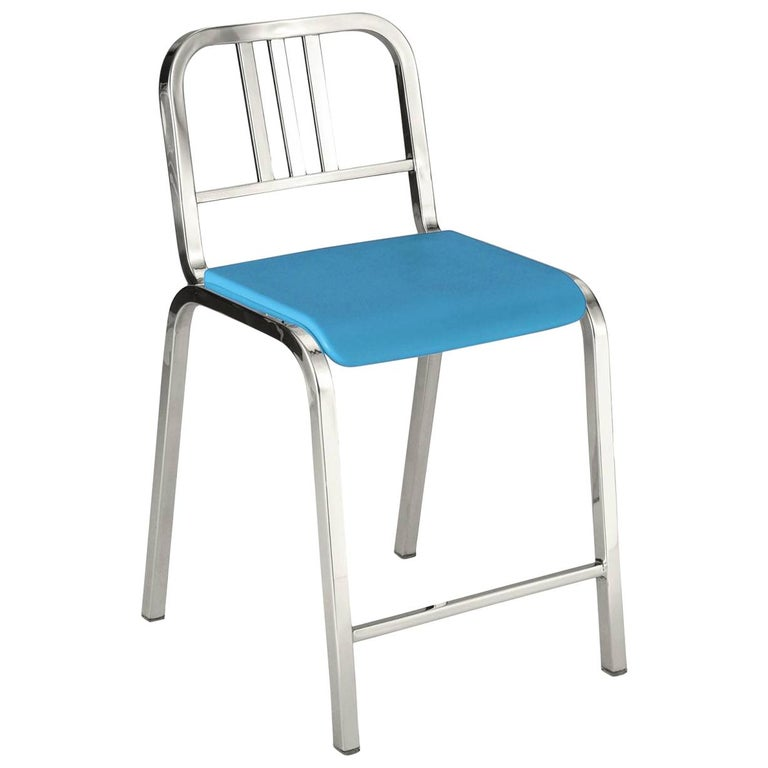 Emeco Nine-0 Counter Stool in Polished Aluminum with Blue Seat, Ettore Sottsass For Sale