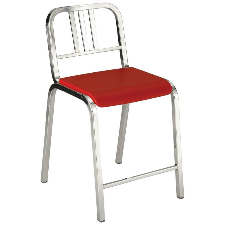 Emeco Nine-0 Counter Stool in Polished Aluminum with Red Seat by Ettore Sottsass For Sale