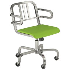 Emeco Nine-0 Swivel Armchair in Brushed Aluminum and Green by Ettore Sottsass