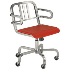 Emeco Nine-0 Swivel Armchair in Brushed Aluminum with Red Seat, Ettore Sottsass