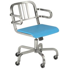 Emeco Nine-0 Swivel Armchair in Polished Aluminum and Blue by Ettore Sottsass