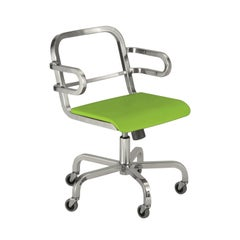 Emeco Nine-0 Swivel Armchair with Bar Back and Green Seat by Ettore Sottsass