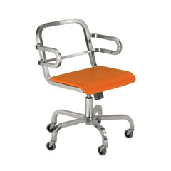 Emeco Nine-0 Swivel Armchair with Bar Back and Orange Seat by Ettore Sottsass