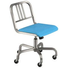 Emeco Nine-0 Swivel in Brushed Aluminum with Blue Seat by Ettore Sottsass