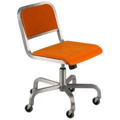 Emeco Nine-0 Swivel in Polished Aluminum and Orange by Ettore Sottsass