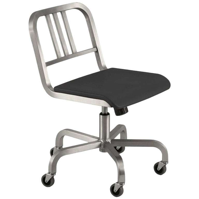 Emeco Nine-0 Swivel in Polished Aluminum with Gray Seat by Ettore Sottsass For Sale