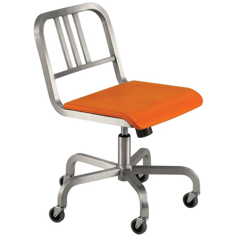 Emeco Nine-0 Swivel in Polished Aluminum with Orange Seat by Ettore Sottsass For Sale