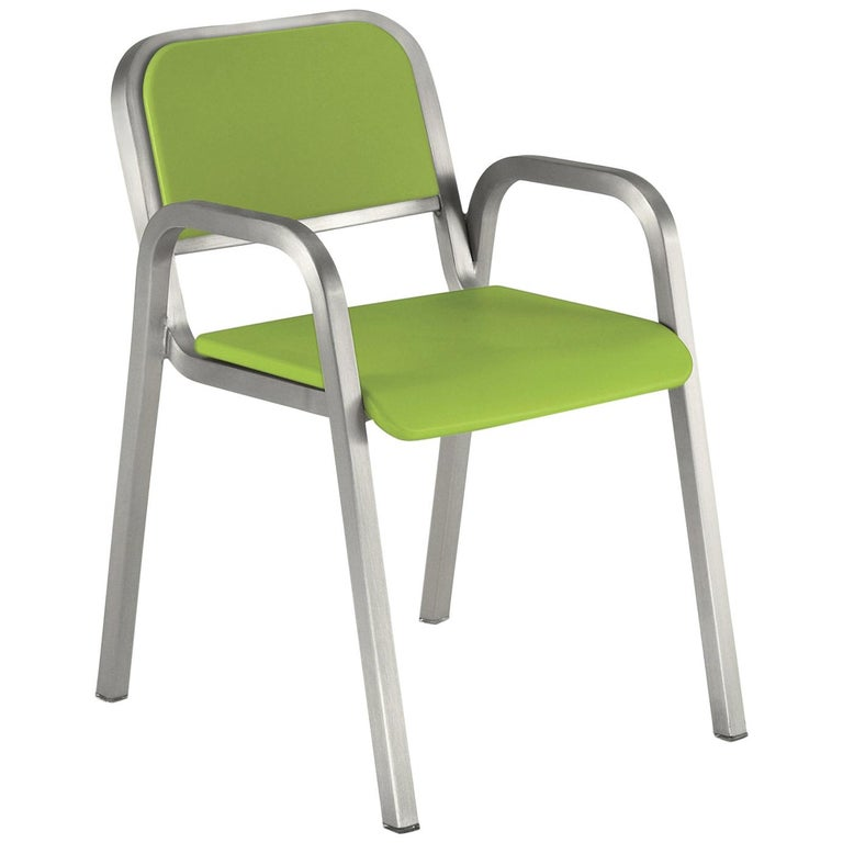 Emeco Nine-0™ Armchair in Brushed Aluminum & Green by Ettore Sottsass For Sale