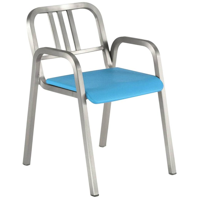 Emeco Nine-0™ Armchair in Brushed Aluminum w/ Blue Seat by Ettore Sottsass For Sale