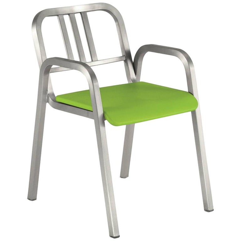 Emeco Nine-0™ Armchair in Brushed Aluminum w/ Green Seat by Ettore Sottsass For Sale
