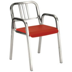 Emeco Nine-0™ Armchair in Polished Aluminum w/ Red Seat by Ettore Sottsass