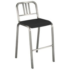Emeco Nine-0™ Barstool in Brushed Aluminum with Gray Seat by Ettore Sottsass