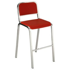 Emeco Nine-0™ Barstool in Polished Aluminum & Red by Ettore Sottsass