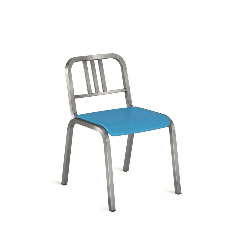Before he died at the age of 90, Ettore Sottsass worked with Emeco on his last chair- the Nine-0. The inspiration was Sottsass own Navy chair in his Milan apartment-but this time with a soft polyurethane seat and back and with or without the Classic