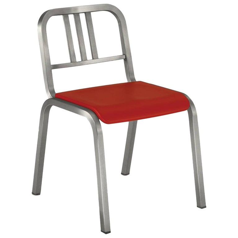 Emeco Nine-0™ Chair in Brushed Aluminum with Red Seat by Ettore Sottsass For Sale