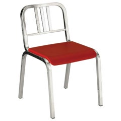 Emeco Nine-0™ Chair in Polished Aluminum W/ Red Seat by Ettore Sottsass