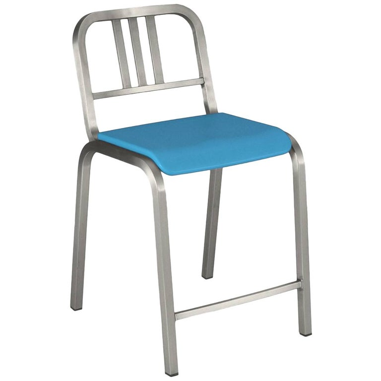 Emeco Nine-0™ Counter Stool in Brushed Aluminum with Blue Seat, Ettore Sottsass For Sale