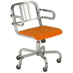 Emeco Nine-0™ Swivel Armchair in Polished Aluminum & Orange by Ettore Sottsass