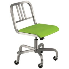 Emeco Nine-0™ Swivel in Polished Aluminum w/ Green Seat by Ettore Sottsass
