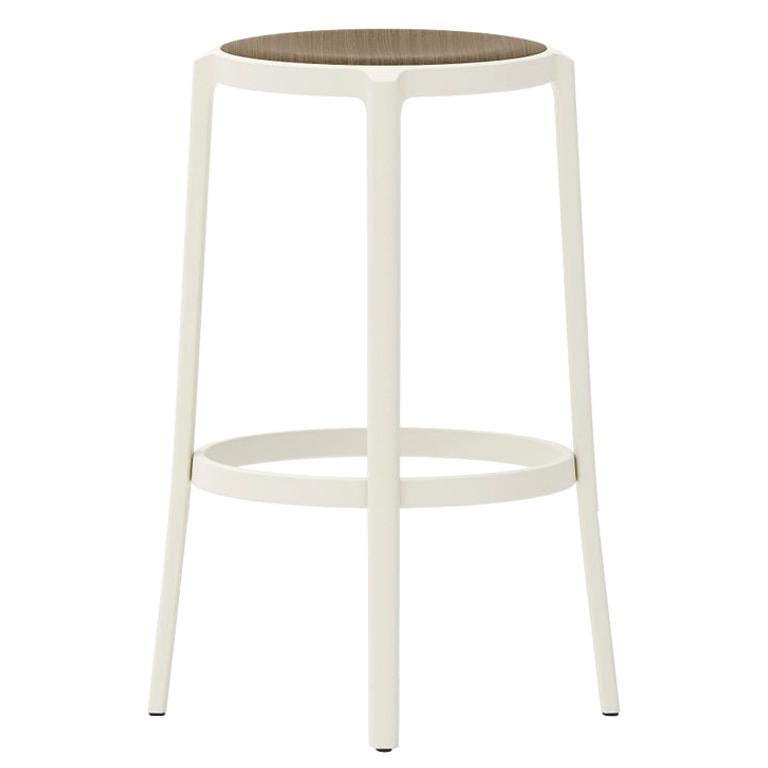 Emeco On & On Barstool in White with Walnut Plywood Seat by Barber & Osgerby